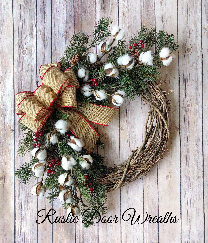 Christmas Wreath Christmas Cotton Wreath Farmhouse Wreath Grapevine Wreath Cotto Christmas Decorations Rustic Christmas Advent Wreath Christmas Wreaths