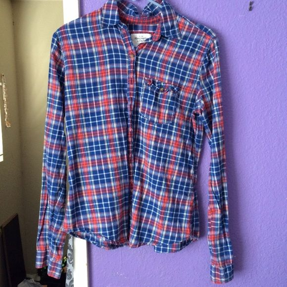 Abercrombie and Fitch Plaid/Checkered Button-Up Only worn once, Abercrombie and Fitch, blue, white and red button-up shirt, size Medium, no holes or tears Abercrombie & Fitch Tops Button Down Shirts