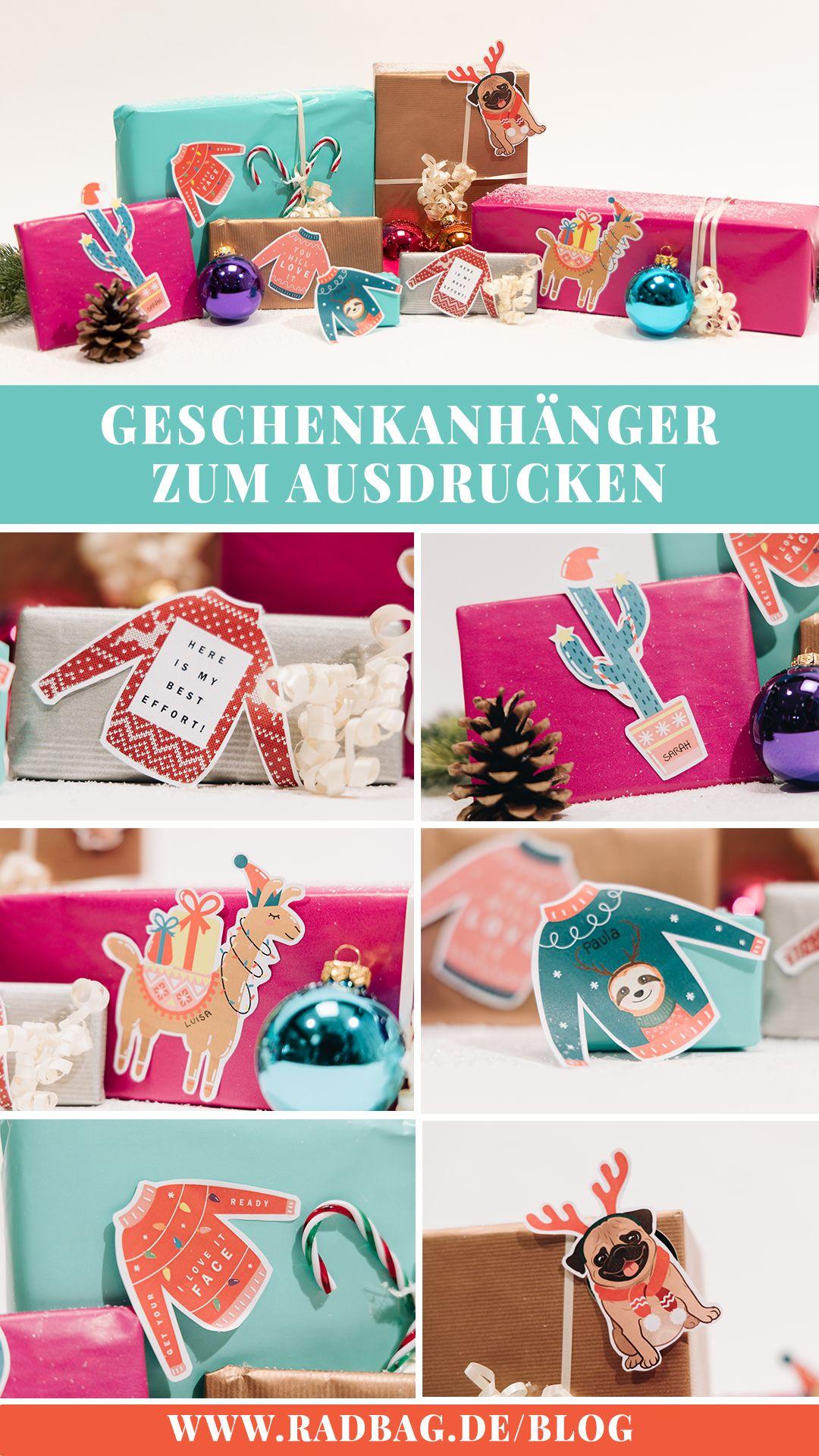 witzige geschenkanhänger zum ausdrucken für weihnachten