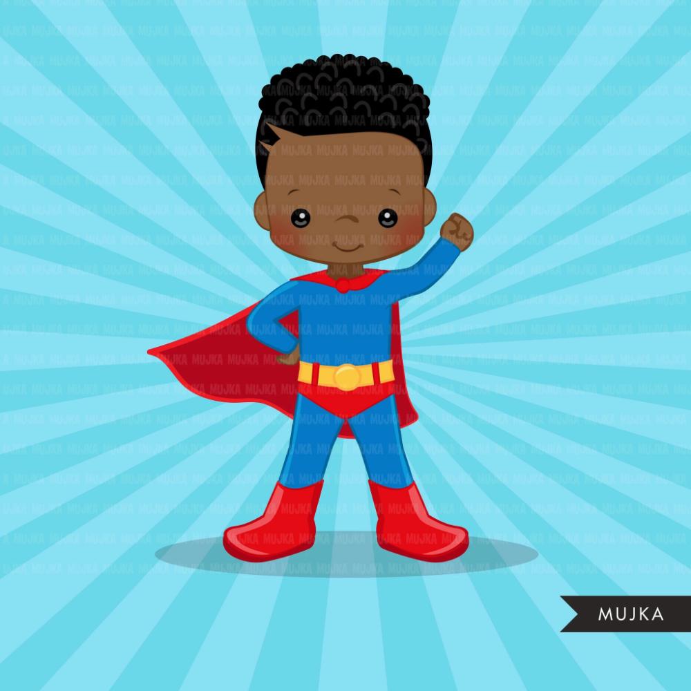 Black Superhero Boys Clipart Splash Background Cute Characters Scrapbooking Set Clip Art Superhero