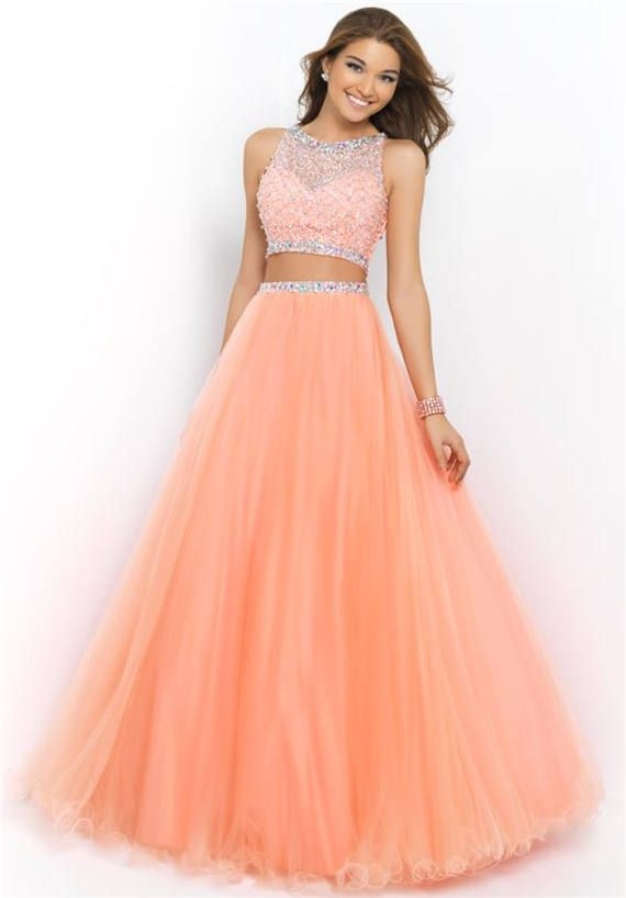 Coral Pink Sparkly Blush 5400 Formal Ball Gown Dresses Two Piece