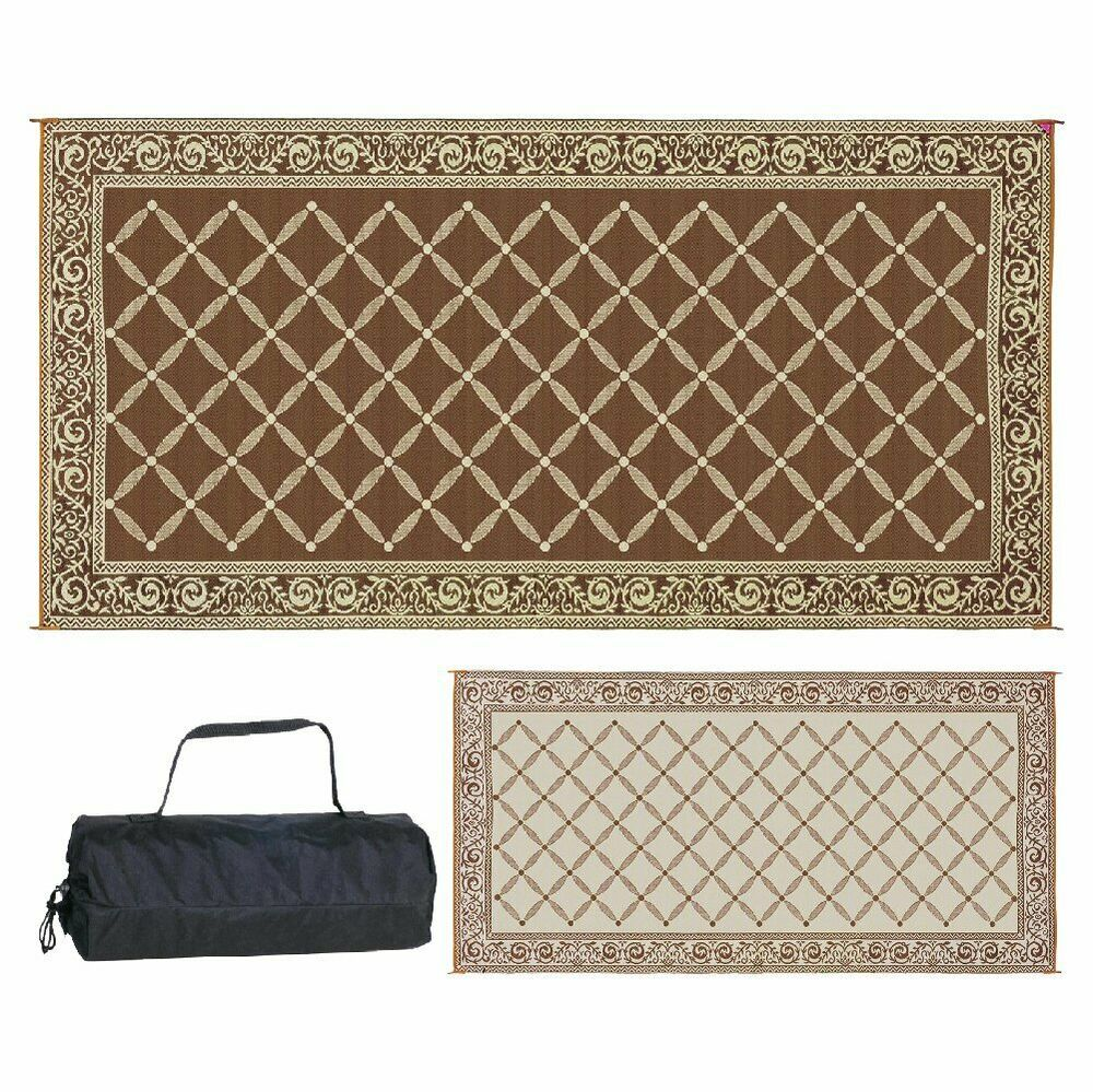 Rv Trailer Patio Beach Camping Reversible Outdoor Mat 9x18 119127 Camper Rug Fashion Home Garden Homedcor Cloc Camping Mat Brown Beige Large Outdoor Rugs
