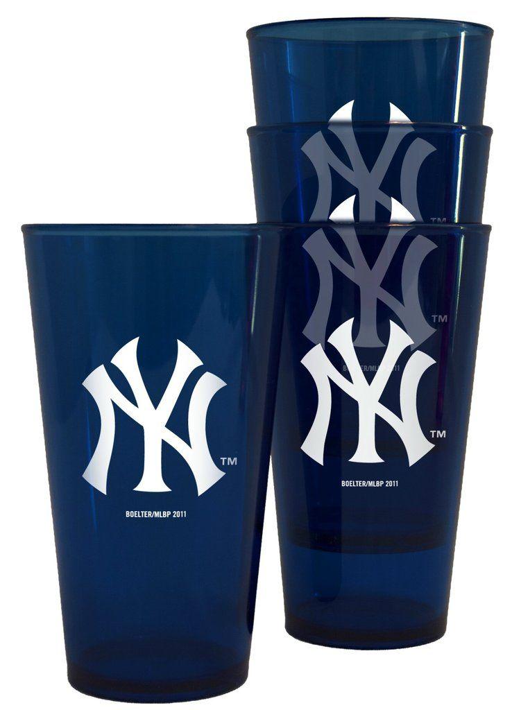 New York Yankees Glass 16oz Pint Plastic 4 Pack Pint Glass Set Glass Set Pint Glass