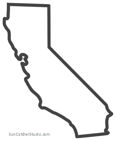 California Map Outline Printable State Shape Stencil Pattern California Outline Silhouette Stencil California Map