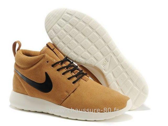 Chaussures Nike Roshe Run Mid Homme Hazel Brun Roshe Run Noir Blanc
