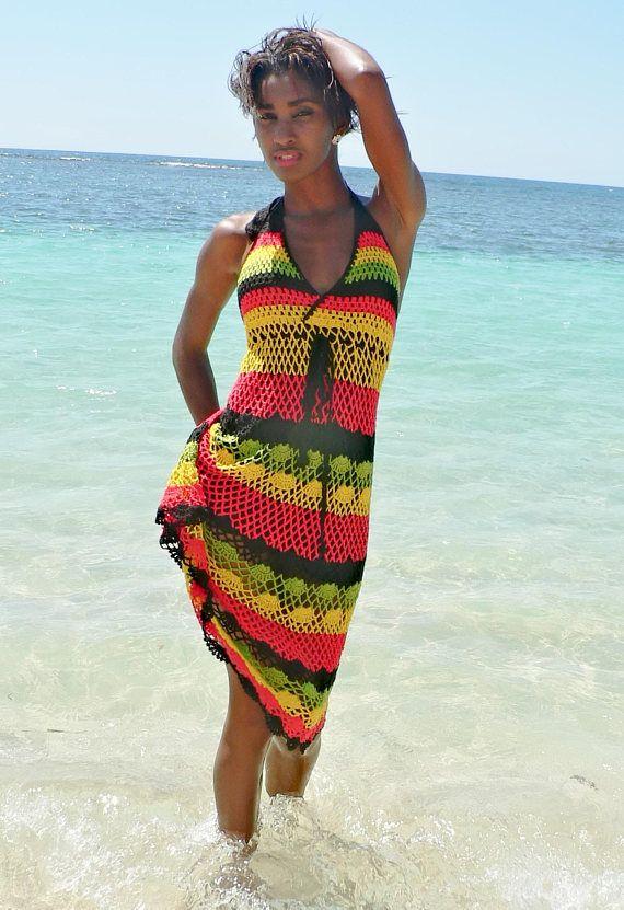 Handmade crochet dress 02 Jamaican Rasta colors | Häkeln Sommer ...