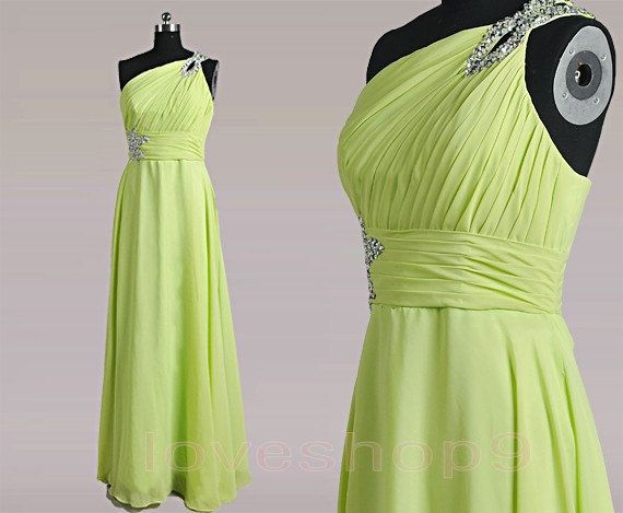2014 Long elegant Chiffon Beads Prom Dress Formal by loveshop9, $97.00
