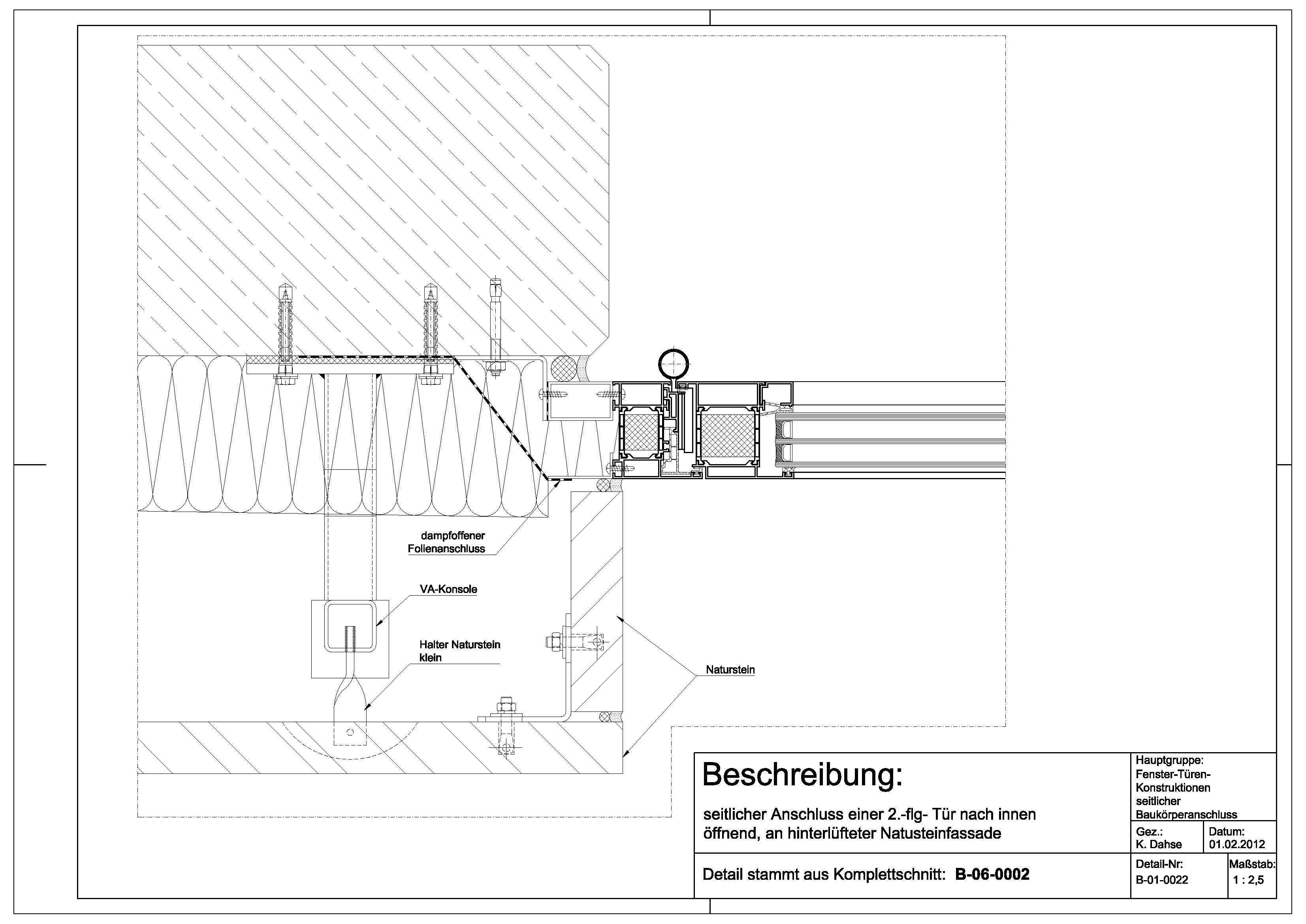 Tür detail anschluss  B-01-0022 Anschluss einer 2.flg.-Tür nach innen öffnend an ...