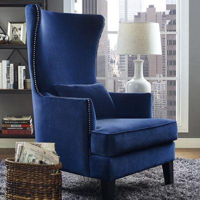 Mercer41 Bernadine Velvet Tall Arm Chair High Back Accent Chairs Blue Accent Chairs Wingback Chair
