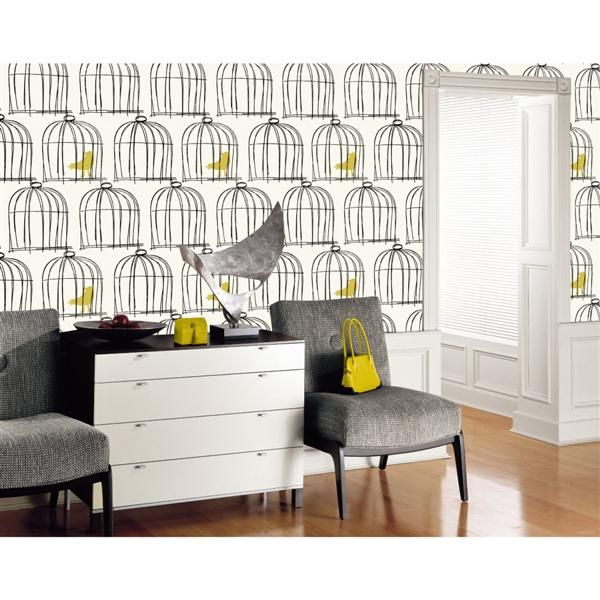 Black And White Birdcage Wallpaper Love The Pop Of Yellow Birds Birdcage Wallpaper Wall Coverings Eclectic Decor Inspiration