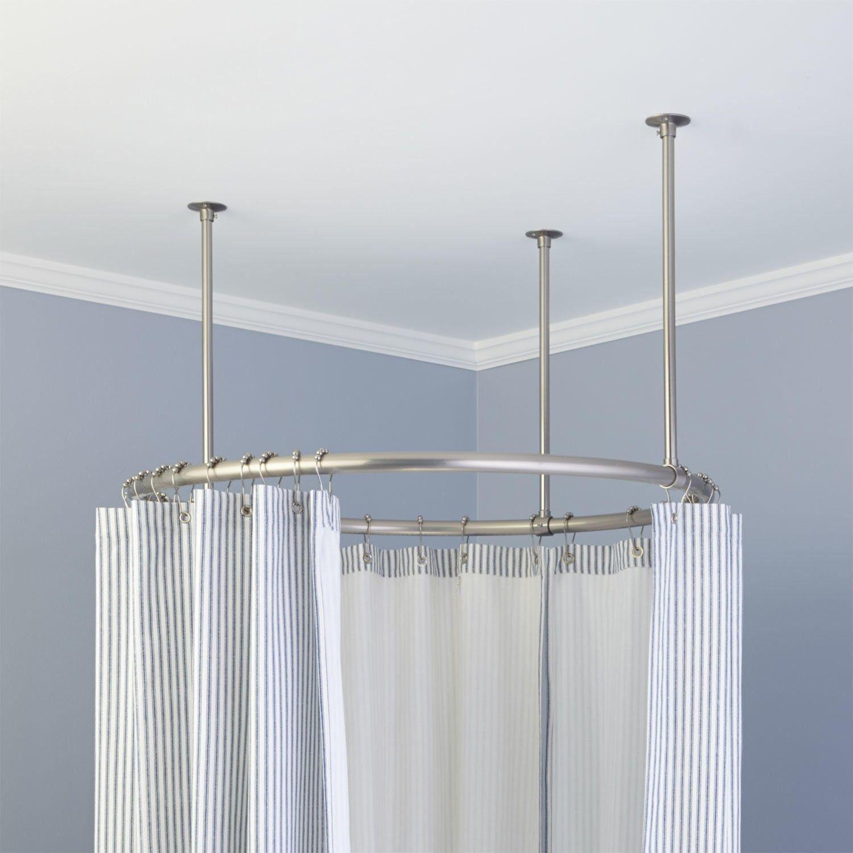 32 Round Solid Brass Shower Curtain Rod RodsBathroom