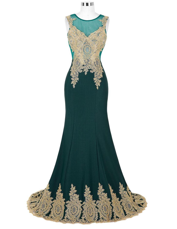 Dubai arabic gold appliques long mermaid formal dresses gold lace