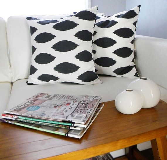 Two Pillow Covers  Charcoal Gray and White Ikat by PeppercornElvis, $30.00