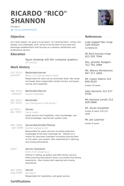 Bartender Resume  Google Search  Activities    Sample