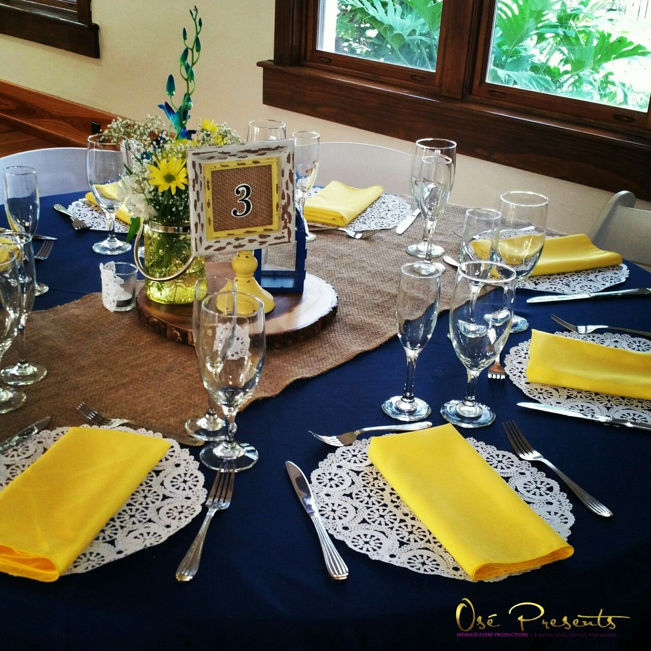 7 Barn Wedding Decoration Ideas For A Spring Wedding: Navy And Yellow Rustic Themed Wedding Table Decor