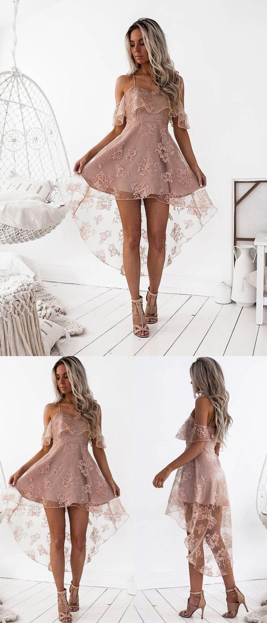 ca07b65ba32 High Low Homecoming Dress Spaghetti Straps Asymmetrical Lace Sexy Short  Prom Dress Party Dress JK457 homecomingdress  homecoming  shortdress   shortpromdress ...