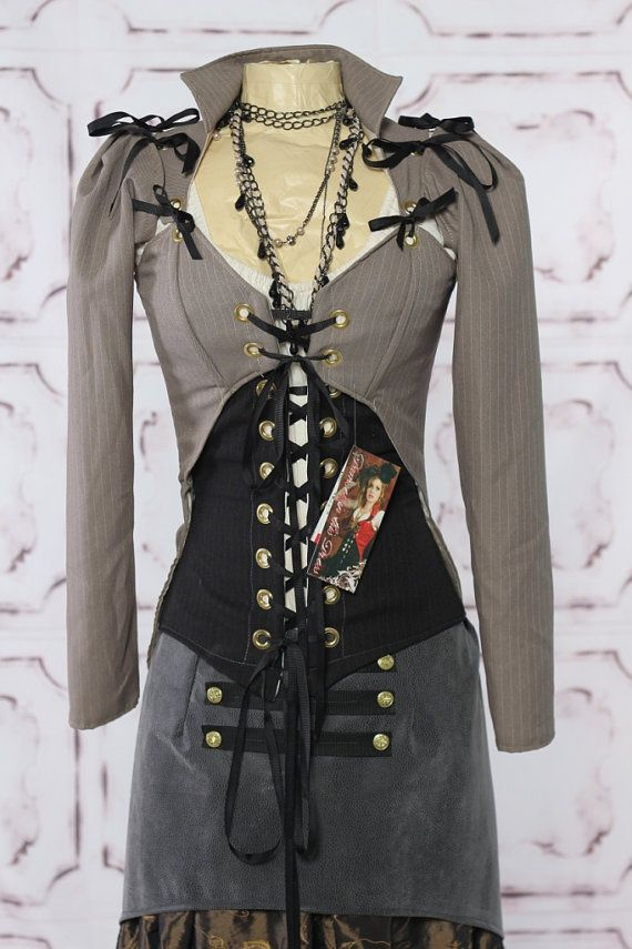 CLEARANCE-60 DOLLARS OFF-Bust 36-38 Grey Pinstripe Suiting Steampunk Jacket