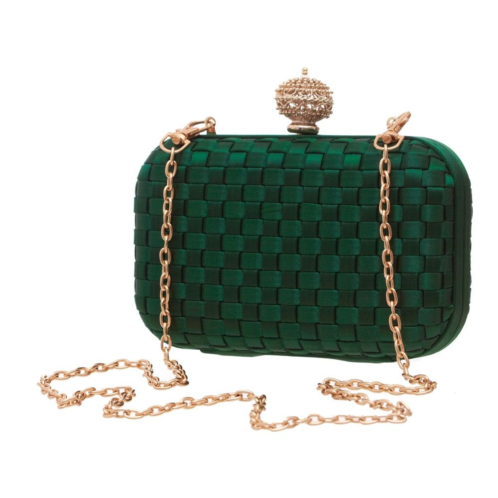 Butterfly woven emerald green & gold satin clutch bag | Clutch ...