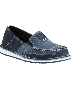 5793258fa1d Ariat Womens Navy Eclipse Blue Zebra Cruiser Shoes - Moc Toe