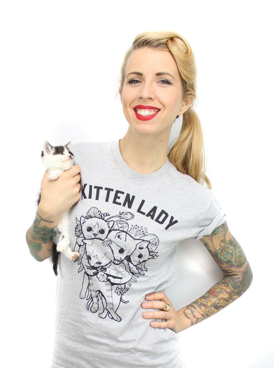 Kitten Lady Kitten Bouquet Tee Women Lady Kitten