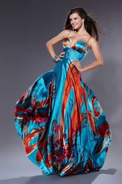Vestidos largos de fiesta con elegantes estampados de colores ...