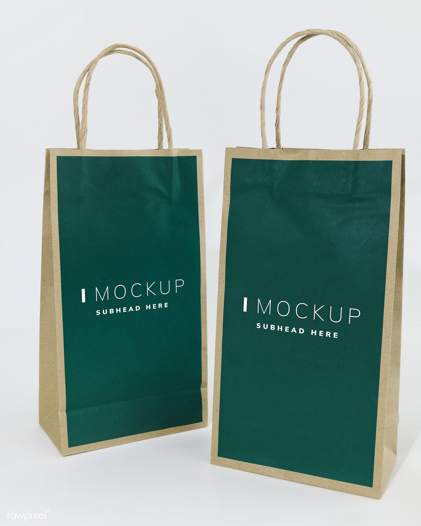 Download Two Green Paper Bag Mockups Free Image By Rawpixel Com Bag Mockup Paper Bag Green Paper