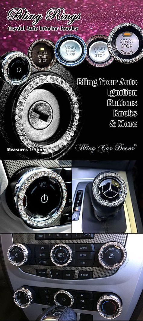 Car Bling Ring Emblem Car Accessories for Buttons & Knobs, Rhinestone Crystal Ring For Start Engine Key or Button Ignition, Bling Car Decor #howtoapplybling