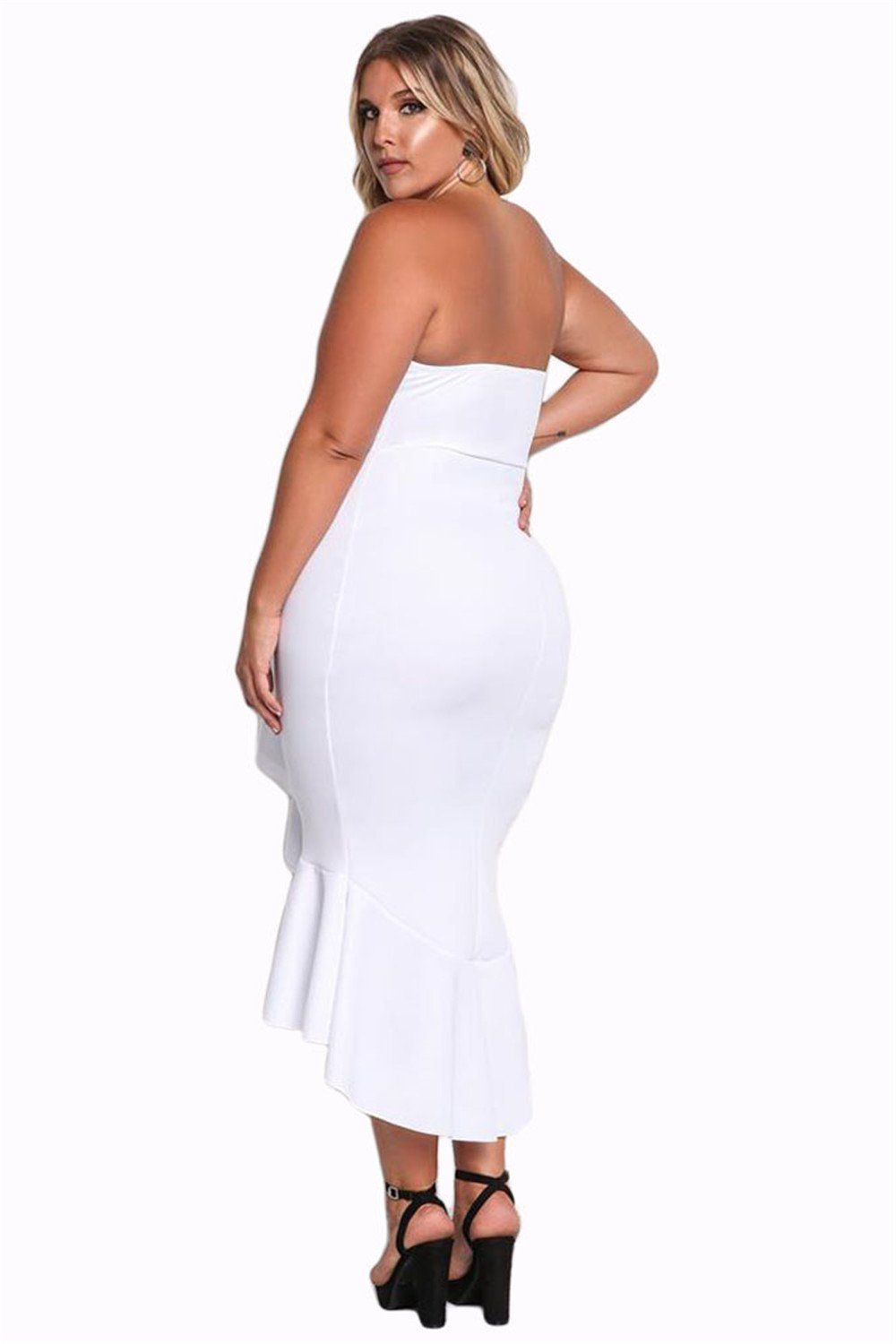 Arctic cubic plus size strapless cascading ruffled ruffle