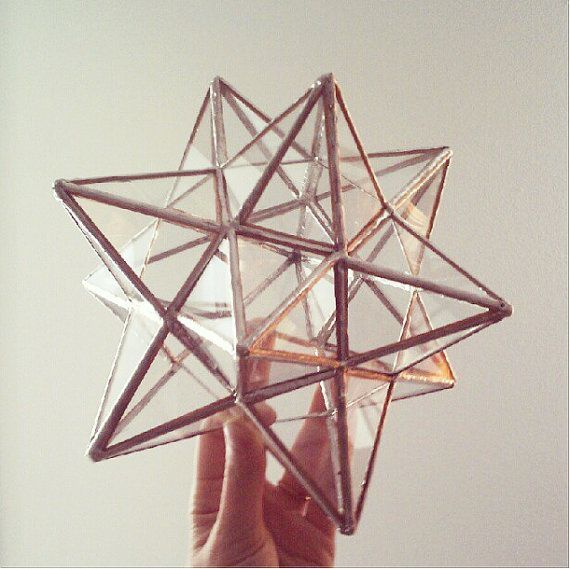 12 pointed stained glass star  ornament  by ABJglassworks on Etsy, $350.00  I have 2 of these, vintage or antique of course.  They are coptic religious items.