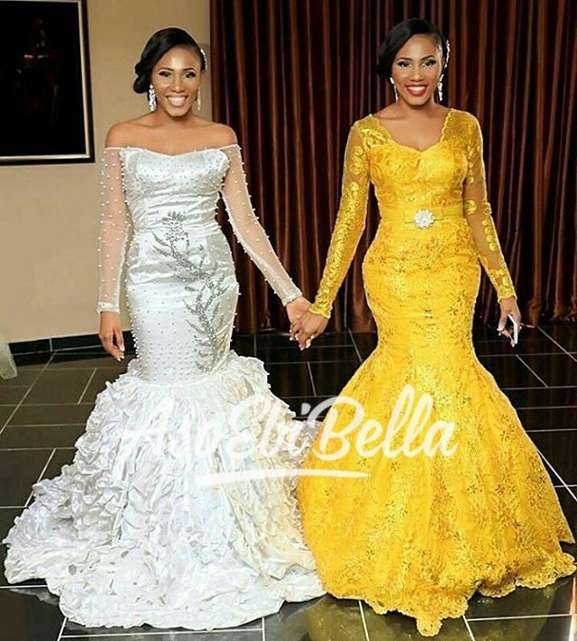 Lovely Bride Her Maid Of Honour Twin Dresses By Ndfashionng