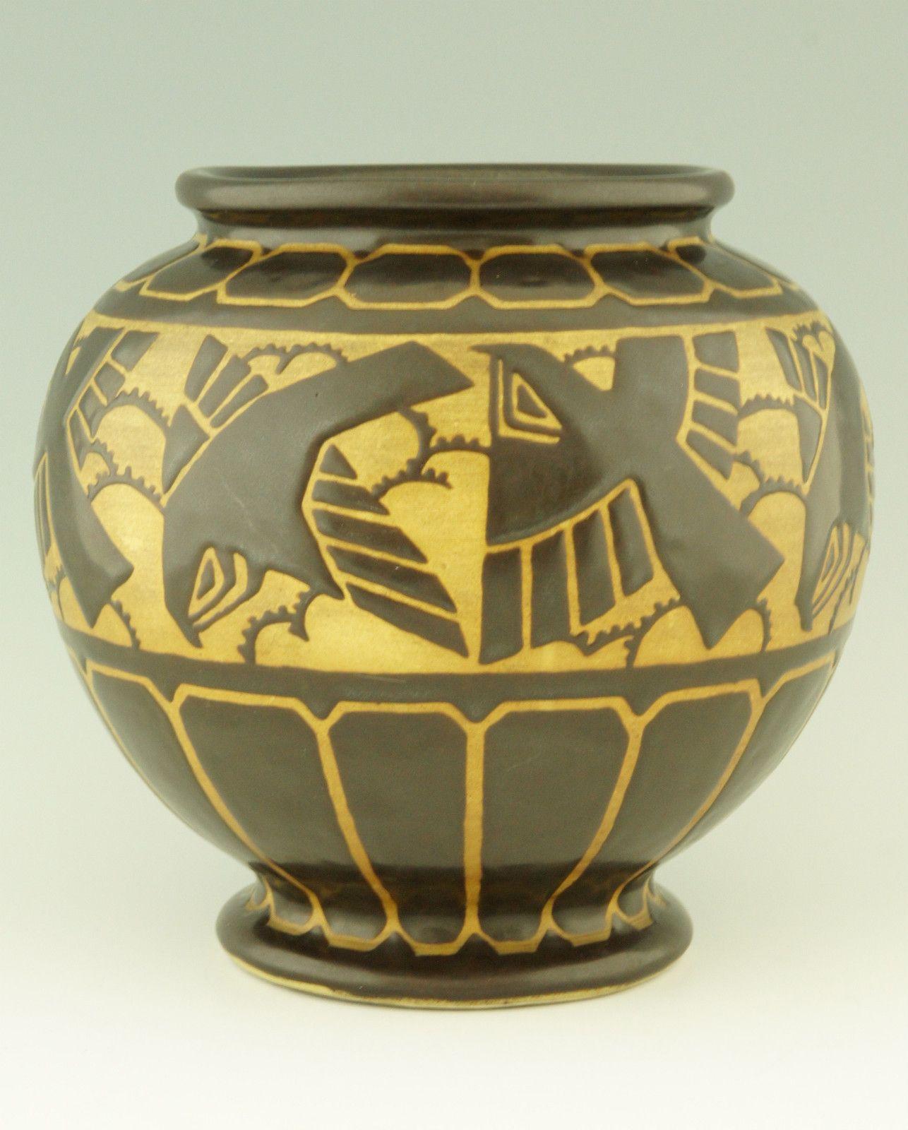 Art deco grès keramis vase with birds by charles catteau belgium 1925 ceramics