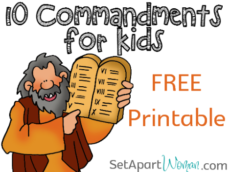 photograph regarding Free Printable Ten Commandments titled 10 Commandments for Small children Totally free Printable Preset Aside Lady