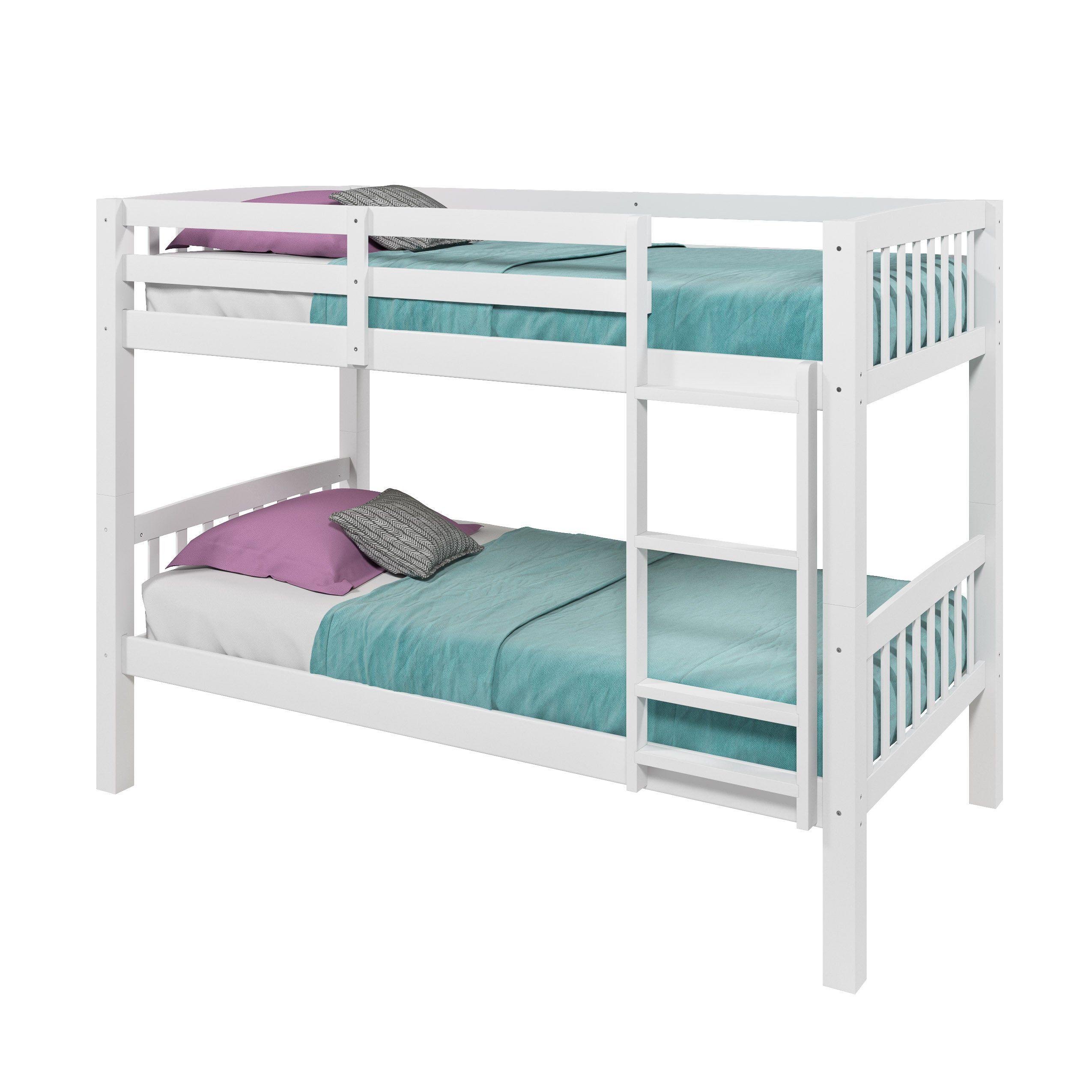 White Twin Over Twin Bunk Bed Dakota Twin Bunk Beds White Bunk Beds Bunk Beds