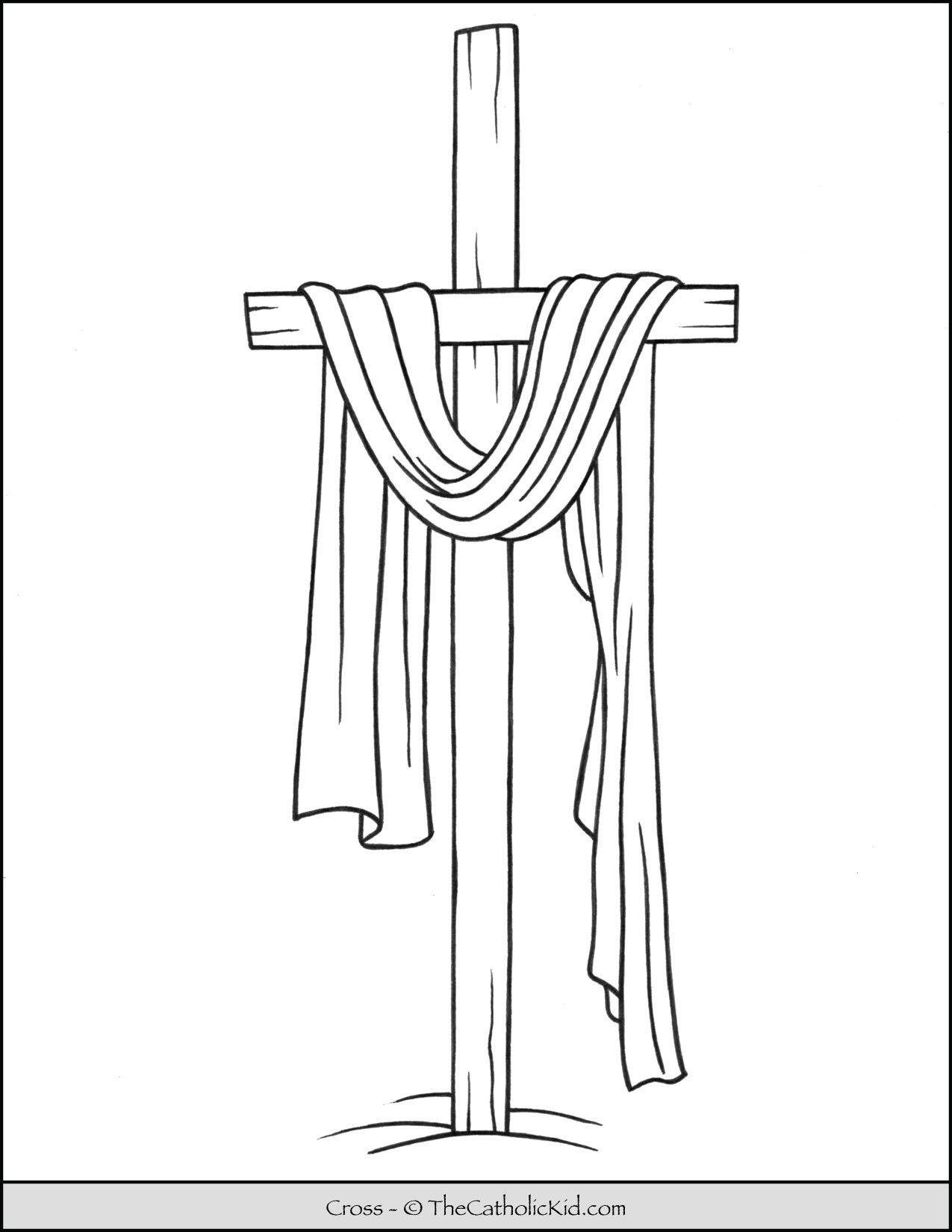 Lent Coloring Page Cross Draped Thecatholickid Com Catholic Coloring Jesus Coloring Pages Cross Coloring Page