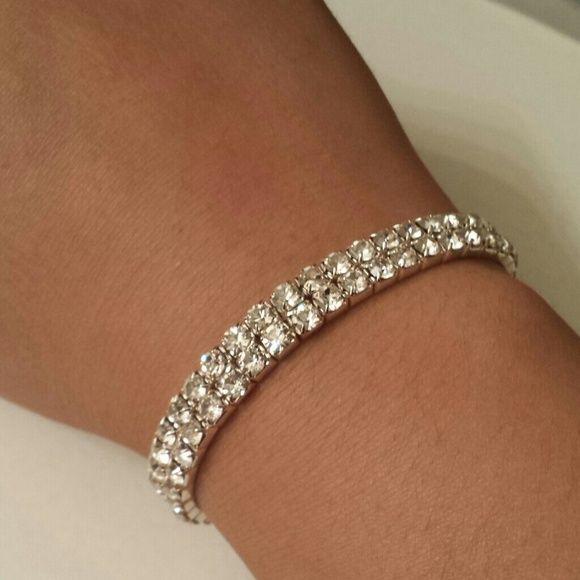 REDUCED silver faux diamond bracelet Silver bracelet with