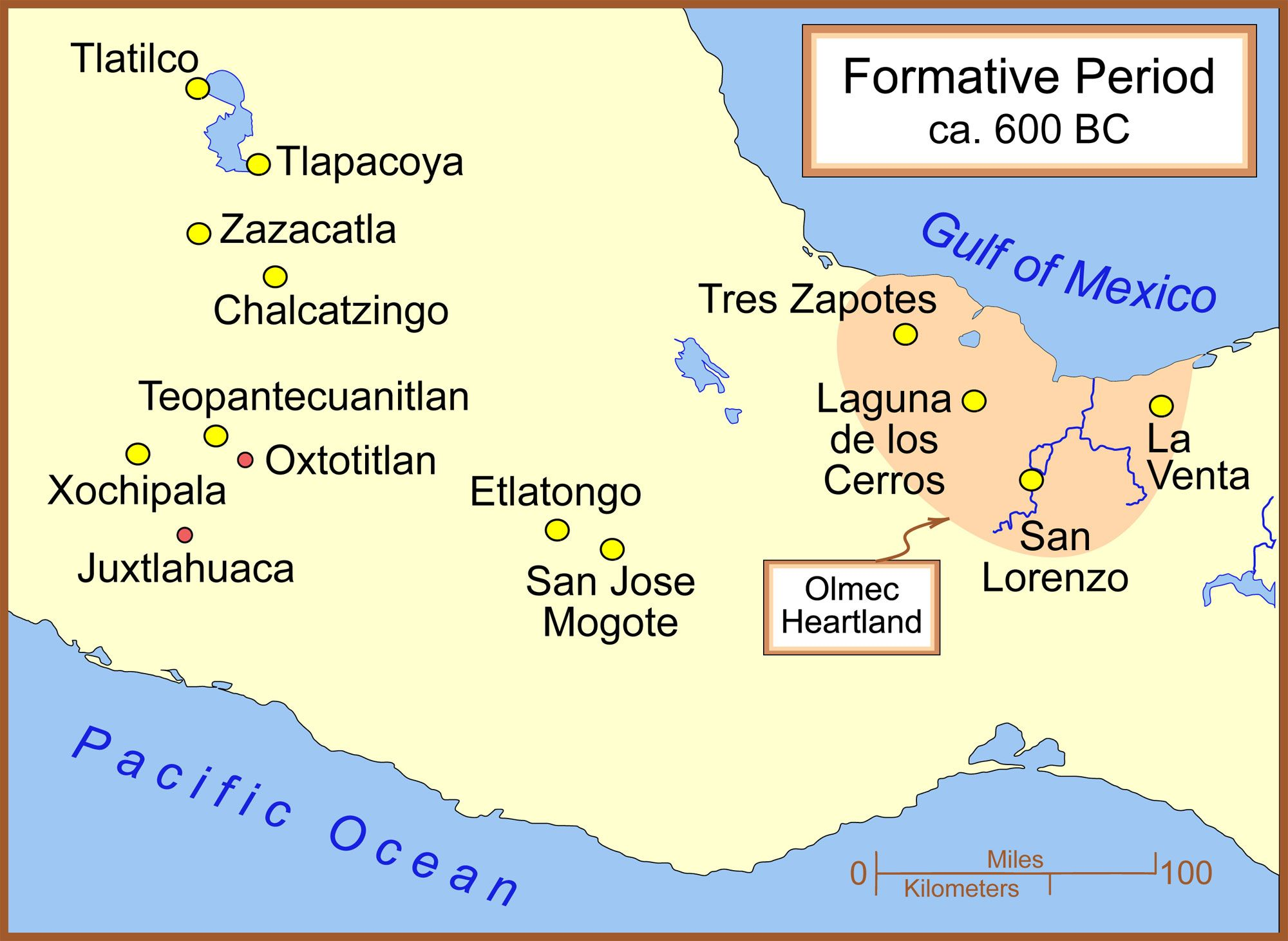 Map Of The Olmec Heartland Image Via Wikimedia Commons