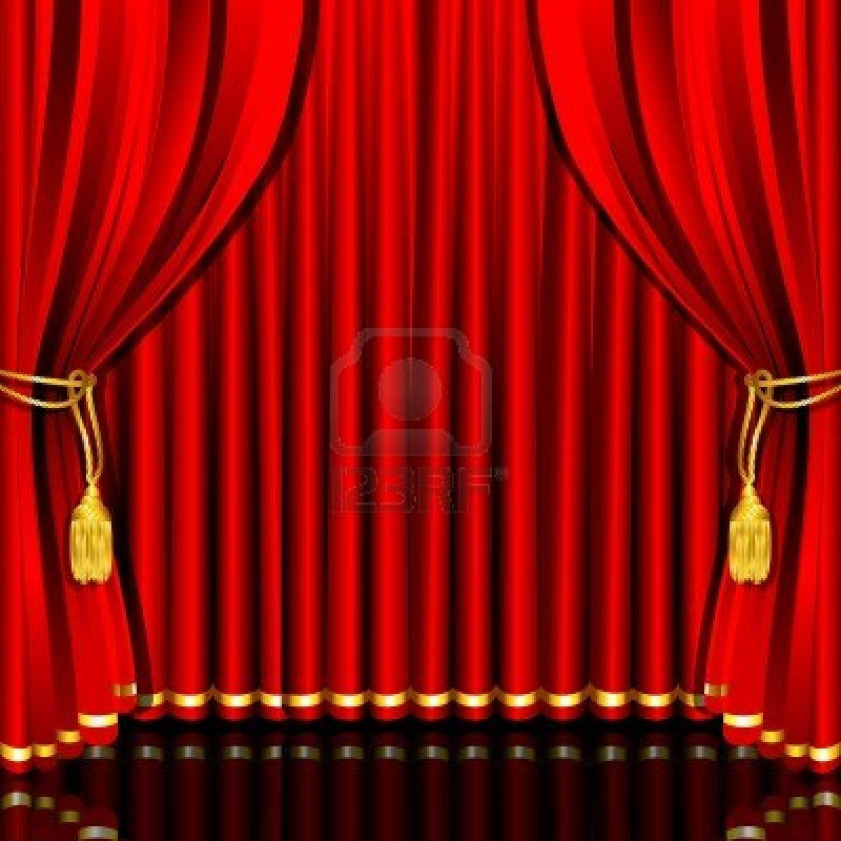 Illustration Of Red Stage Curtain Drape Tied With Rope Stage