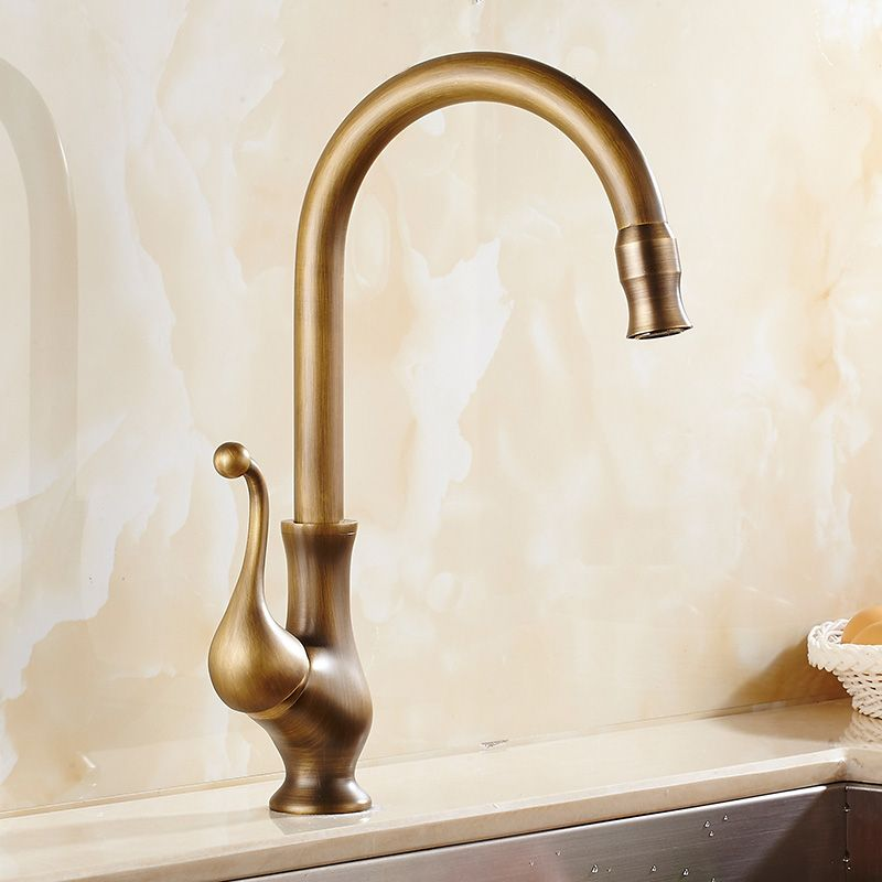 Antique Brass Finish Kitchen Faucet Bronze Single Handle Hot And Cold Water Kitchen Sink Tap Swivel Spou Kitchen Faucet Bronze Kitchen Faucet Kitchen Sink Taps