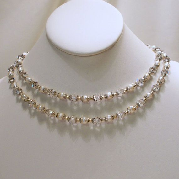 Doulbe Strand Renaissance Pearl and Crystal by tbyrddesigns, $49.00
