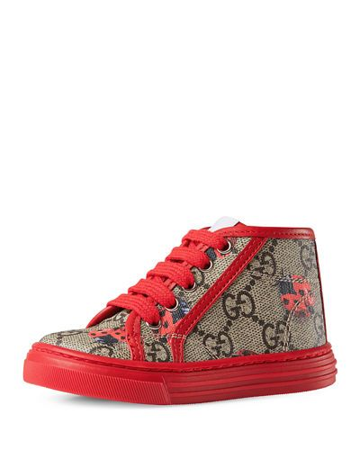 61a91ce74d9 GUCCI CALIFORNIA GG SUPREME PRINTED HIGH-TOP SNEAKER