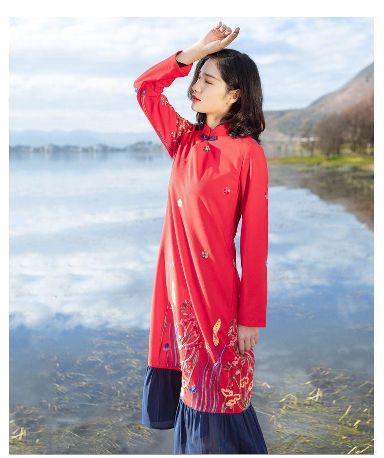959cc6866e178 チャイナ風ワンピース ドレス チュニック 唐装 漢服 チャイナ風服 民族風 長袖 ロング丈 スタンド