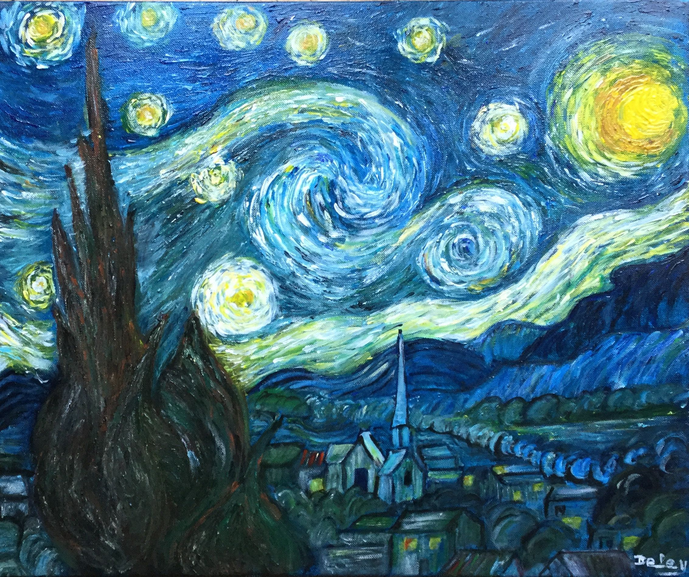 The Starry Night After Vincent Van Gogh Acrylic On Linen Canvas Diy Canvas Art Painting Van Gogh Art Vincent Van Gogh