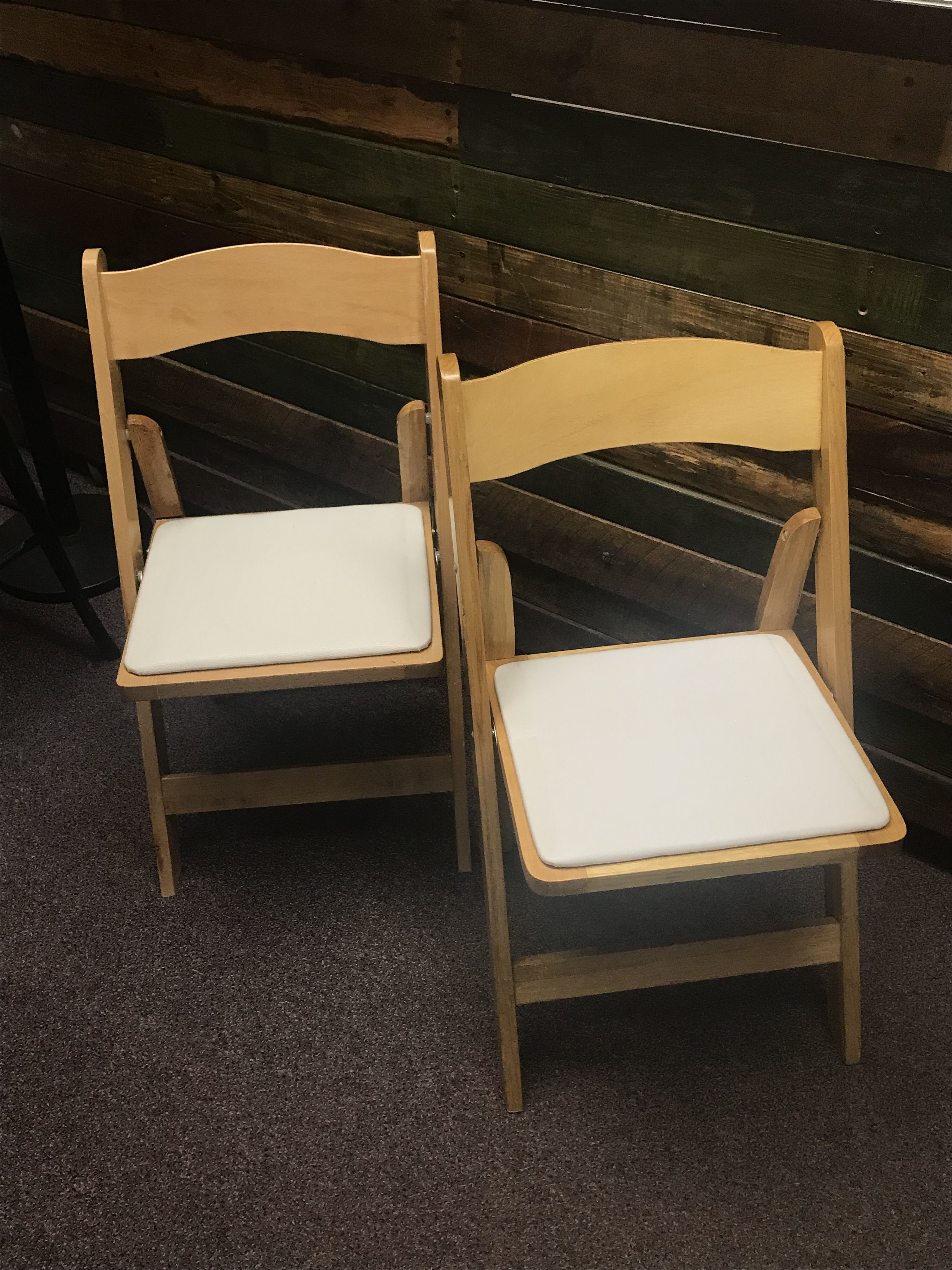 Natural Wood Folding Chairs With White Padded Seat Would Go
