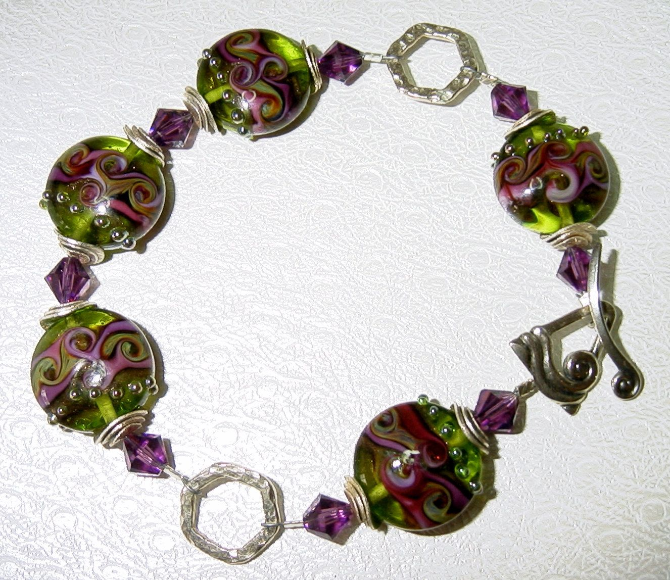 Beautiful Lampwork Sterling Silver Swarovski Crystals Large Size Bracelet by judesjujus on Etsy