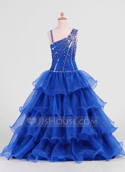 Flower Girl Dresses - $124.69 - A-Line/Princess Floor-Length Organza Flower Girl Dress With Beading Sequins Cascading Ruffles (010007469) http://jjshouse.com/A-Line-Princess-Floor-Length-Organza-Flower-Girl-Dress-With-Beading-Sequins-Cascading-Ruffles-010007469-g7469