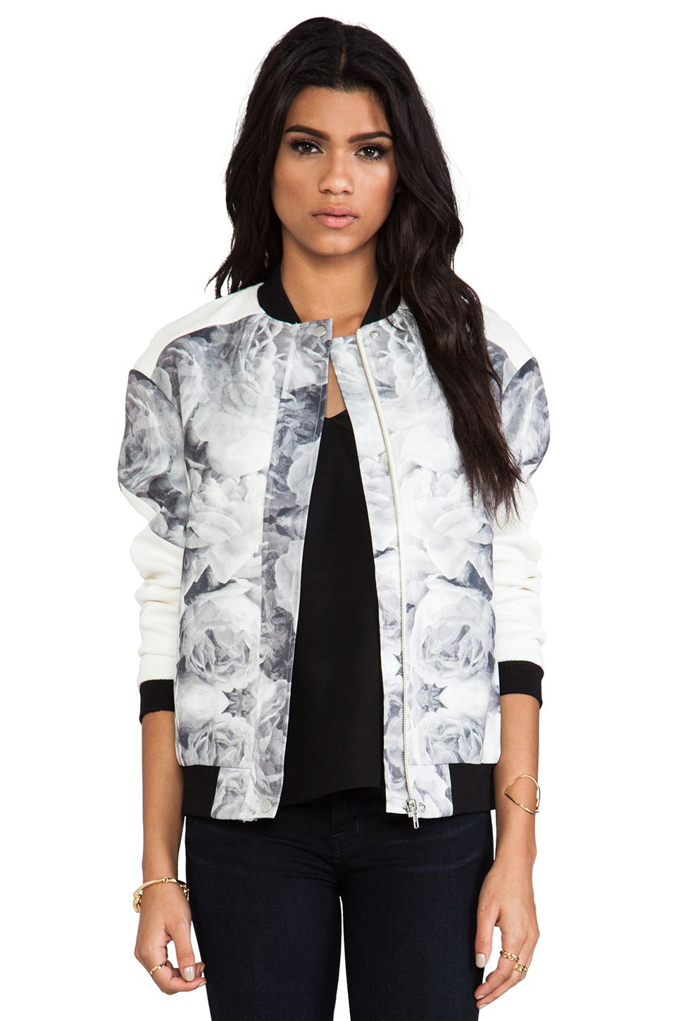 Finders Keepers The Eclipse Bomber in Rose Print Monochrome & Ivory from REVOLVEclothing