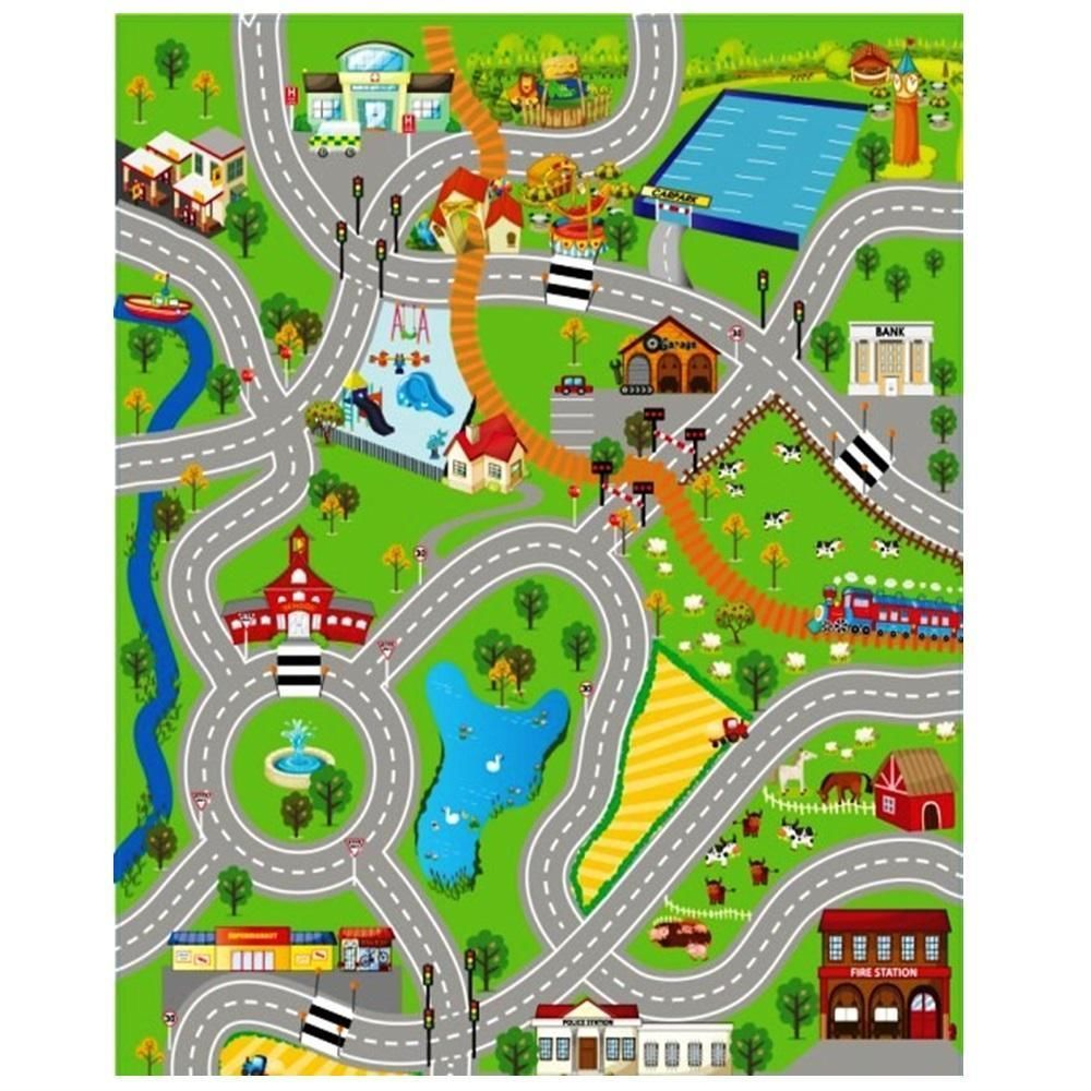 Giant Kids City Playmat Fun Town Cars Play Village Farm Road Carpet