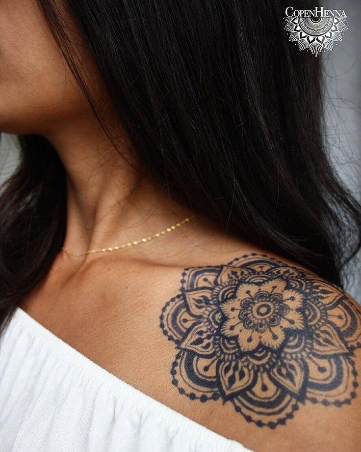 "Photo of FreshJagua® on Instagram: ""Beautiful Fresh Jagua®️ art by @copenhenna 💕👑 ・・・ Shoulder tattoo created by using Jagua 🍈 Jagua is (like henna) applied on top of the…"""