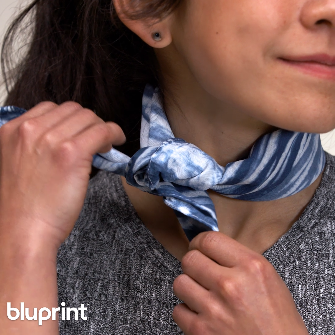 DIY a Hand-Dyed Scarf 3 Ways: We love a good tie dye project, but we really LOVE a tie dye project thats modern, sophisticated and totally wearable...Just like this tie dye scarf DIY!  And we'll show you step-by-step how to do it in three different ways. #tiedyescarf  #tiedyescarfDIY #tiedyescarfcotton  #tiedyescarfblue #tiedyescarfshibori #shibori #mybluprint