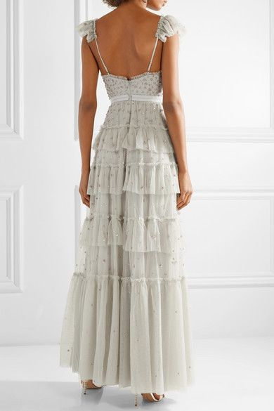 Sunburst Tiered Embellished Ruffle-trimmed Tulle Gown - Gray green Needle & Thread V43hNT2P5d